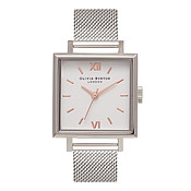 Big Square Dial Silver Mesh Watch by Olivia Burton