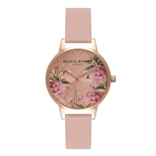 Olivia Burton Dot Design Floral Dusty Pink & Rose Gold Watch