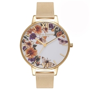 Olivia Burton Enchanted Garden Butterflies Gold Mesh Watch