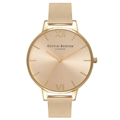 Olivia Burton Big Dial Gold Sunray Mesh Watch