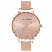 Olivia Burton Big Dial Rose Gold Sunray Mesh Watch