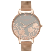 Olivia Burton Lace Detail Grey & Rose Gold Mesh Watch