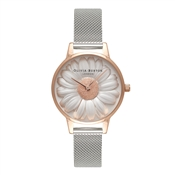 Olivia Burton 3D Daisy Rose Gold & Silver Mesh Watch