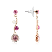August Woods Rose Gold & Fuchsia Floral Earrings