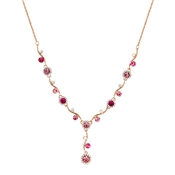 August Woods Rose Gold & Fuchsia Floral Necklace