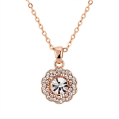 August Woods Rose Gold Crystal Flower Necklace