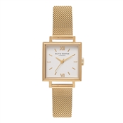 Olivia Burton Square Dial Gold Mesh Watch