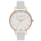 Olivia Burton Vegan Friendly Big Grey & Rose Gold Watch