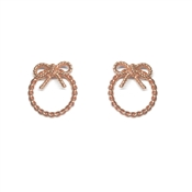 Olivia Burton Vintage Bow Rose Gold Hoop Earrings