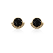 Dirty Ruby Gold Black Circle CZ Stud Earrings