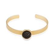 Dirty Ruby Black Marble & Gold Bangle