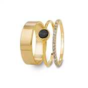 Dirty Ruby Black & Gold Ring Stack