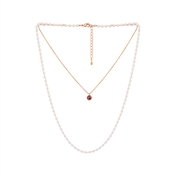 August Woods Rose Gold Pearl Layered Necklace