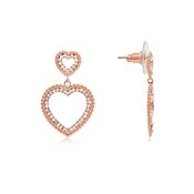 August Woods Rose Gold Double Heart Earrings
