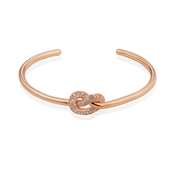 Dirty Ruby Rose Gold Crystal Knot Open Bangle