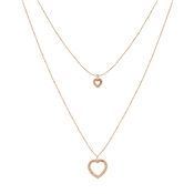 August Woods Rose Gold Crystal Heart Layered Necklace
