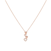 August Woods Rose Gold Falling Hearts Necklace