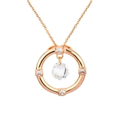 August Woods Rose Gold Circle Crystal Drop Necklace
