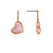 Dirty Ruby Rose Quartz Drop Heart Earrings