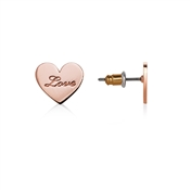 Dirty Ruby Rose Gold Love Inscribed Heart Studs