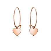 Dirty Ruby Rose Gold Hoop Heart Earrings