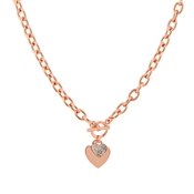 August Woods Rose Gold T-Bar Heart Necklace