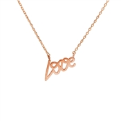 Dirty Ruby Rose Gold Love Scipt Necklace