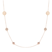 August Woods Rose Gold CZ Circle Long Layer Necklace