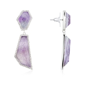 August Woods Amethyst & Silver Drop Earrings