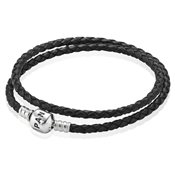 PANDORA Black Double Woven Leather Bracelet