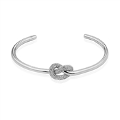 Dirty Ruby Silver Crystal Knot Open Bangle