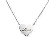 Dirty Ruby Silver Heart Inscribed Necklace