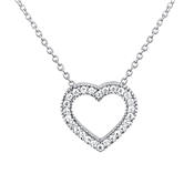 Argento Crystal Pave Open Heart Necklace