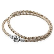 Pandora Pearl Double Woven Leather Bracelet