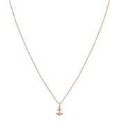 Karma Rose Gold Anchor CZ Necklace 40cm