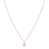 Karma Rose Gold Crystal Clover Necklace