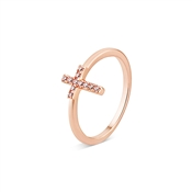 Karma Rose Gold Crystal Cross Ring
