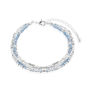 Karma Silver & Blue Layered Bracelet