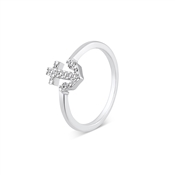 Karma Silver CZ Anchor Ring