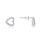 Karma Silver Crystal Heart Stud Earrings