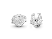 Missoma Silver Pave Heart U Stud Earrings