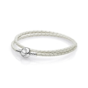 PANDORA Ivory White Double Woven Leather Bracelet