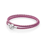 PANDORA Pink Double Woven Leather Bracelet