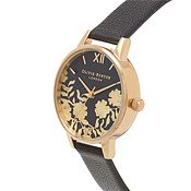 Olivia Burton Lace Detail Black & Gold Watch