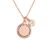 Karma April Birthstone Rose Gold Necklace