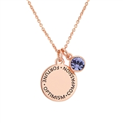 Karma December Birthstone Rose Gold Necklace