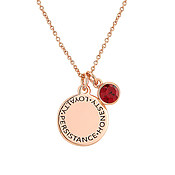 Karma January Birthstone Rose Gold Necklace