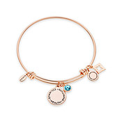 Karma March Birthstone Rose Gold Bangle