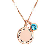 Karma March Birthstone Rose Gold Necklace