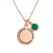 Karma May Birthstone Rose Gold Necklace